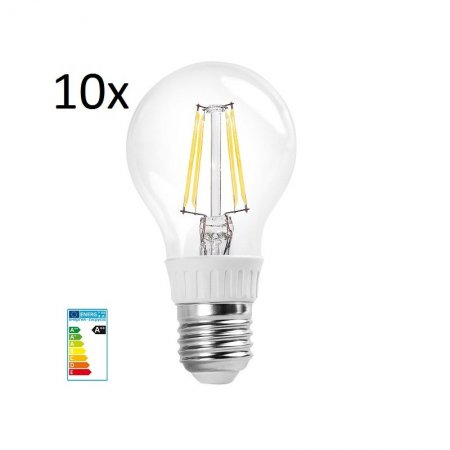10x RealLED 60mm LED-Gl�hwendelbirne E27 warmwei� 2700K 7 Watt klarglas