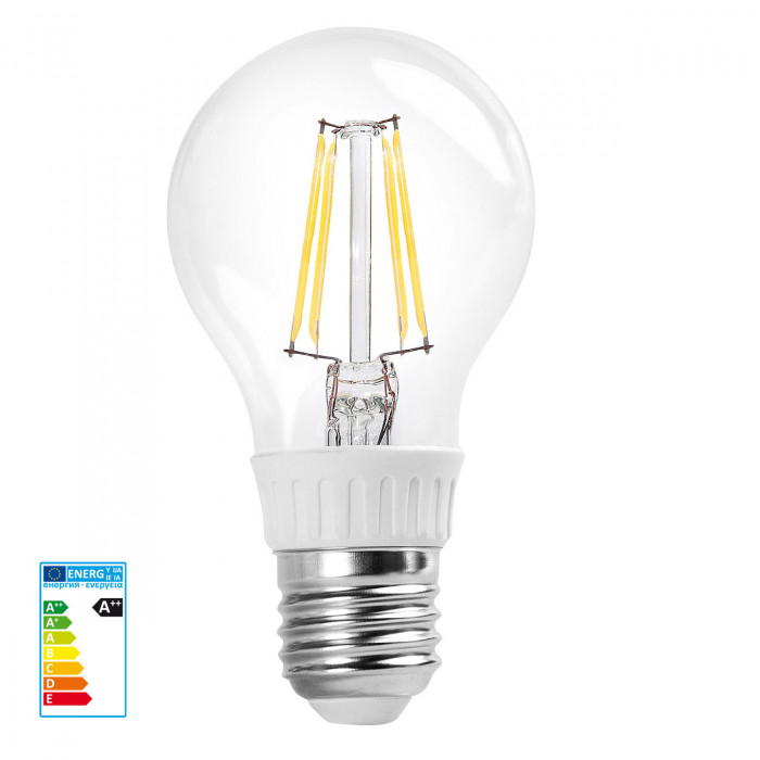 RealLED 60mm Halogen-LED Glühwendelbirne E27 warmweiß 7 Watt klarglas 2700 K