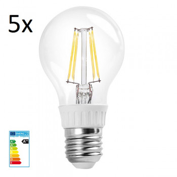 5x RealLED 60mm LED-Glühwendelbirne E27 warmweiß 2700K 7...